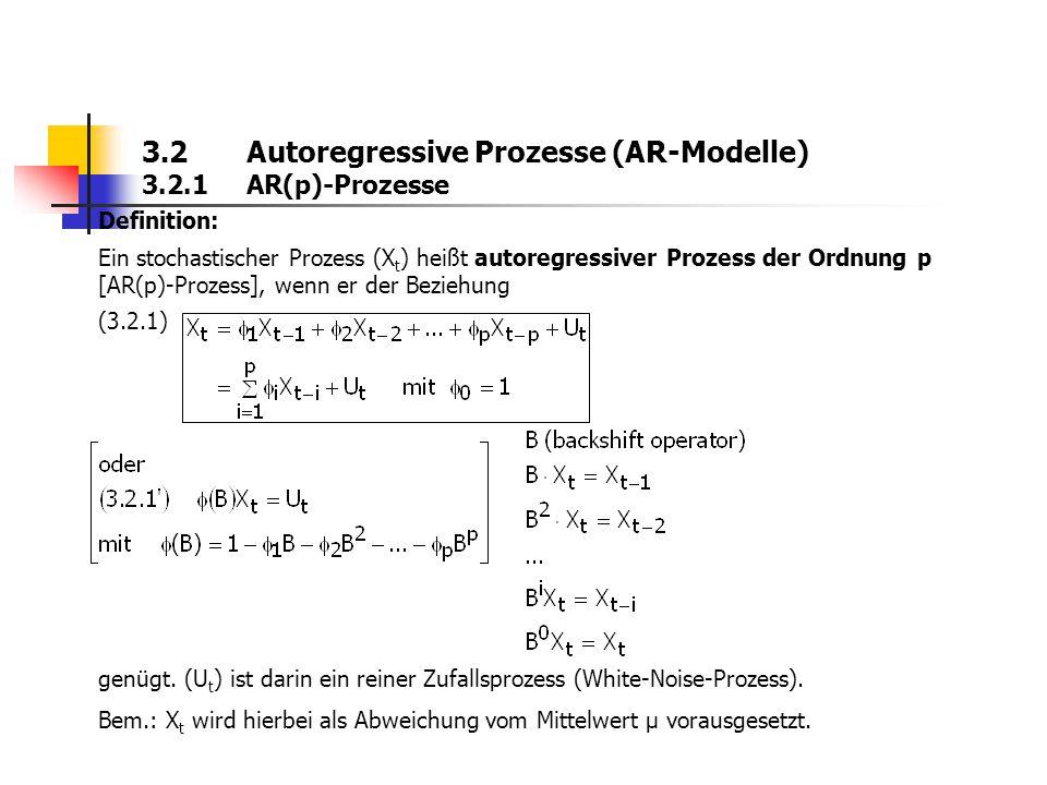 3.2 Autoregressive Prozesse (AR-Modelle) 3.2.1 AR(p)-Prozesse Definition: Ein stochastischer Prozess (X t ) heißt autoregressiver Prozess der Ordnung