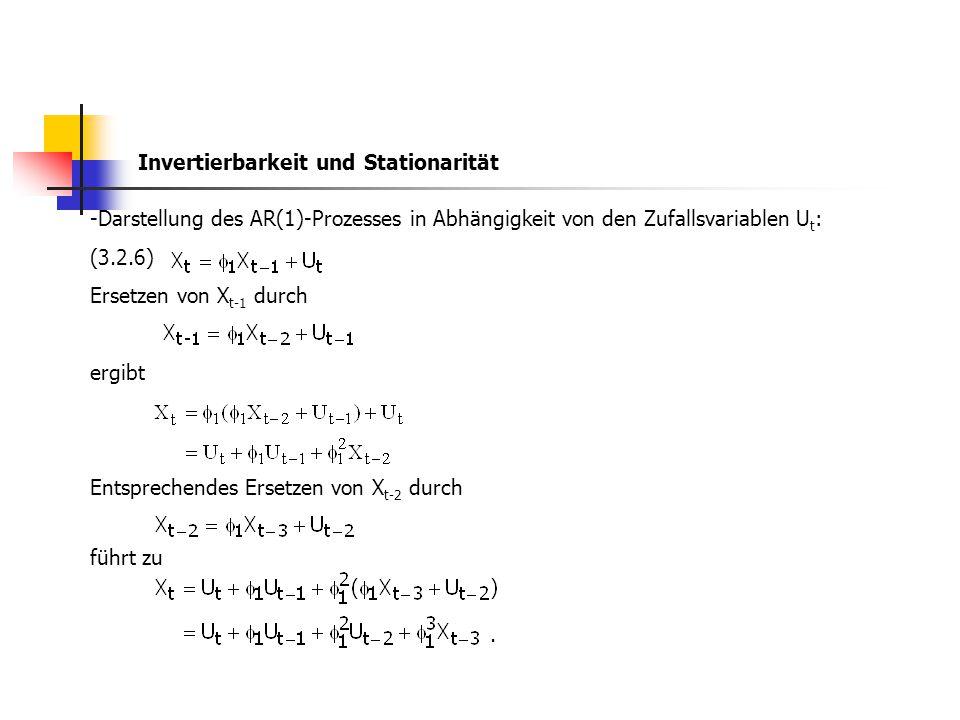 -Darstellung des AR(1)-Prozesses in Abhängigkeit von den Zufallsvariablen U t : (3.2.6) Ersetzen von X t-1 durch ergibt Entsprechendes Ersetzen von X