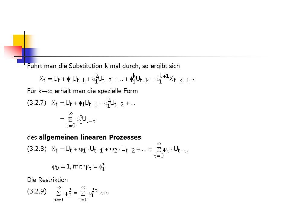 Führt man die Substitution k-mal durch, so ergibt sich. Für k →  erhält man die spezielle Form (3.2.7) des allgemeinen linearen Prozesses (3.2.8) Die