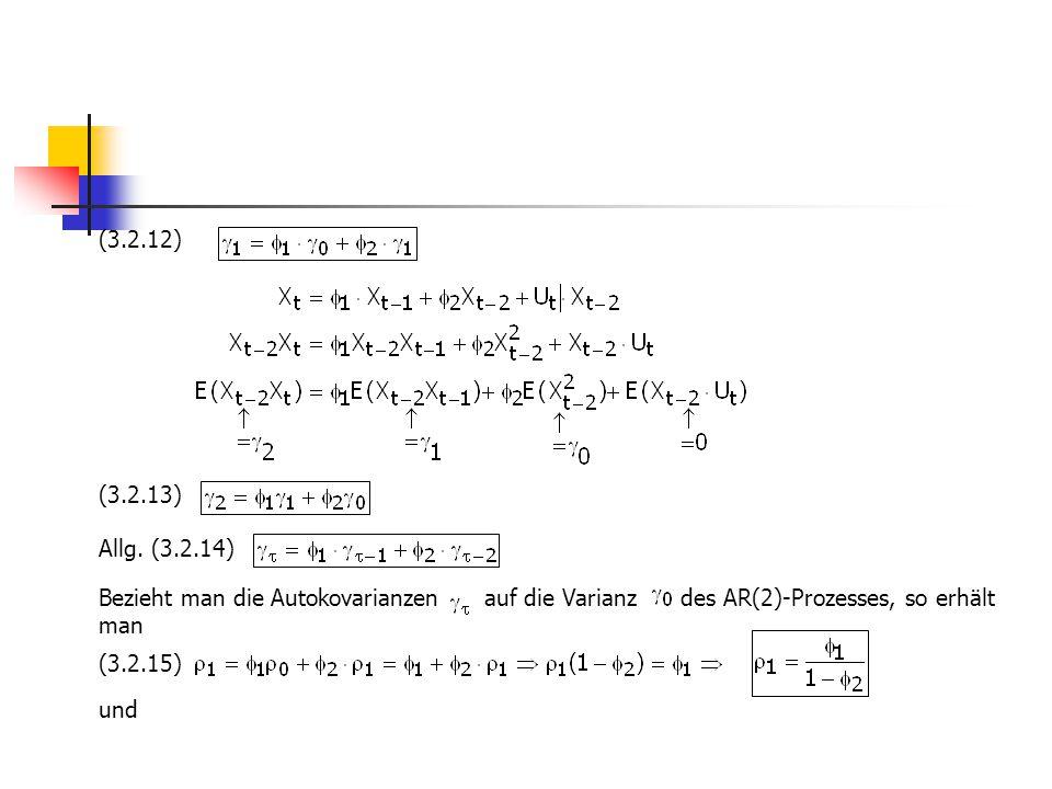 (3.2.12) (3.2.13) Allg. (3.2.14) Bezieht man die Autokovarianzen auf die Varianz des AR(2)-Prozesses, so erhält man (3.2.15) und