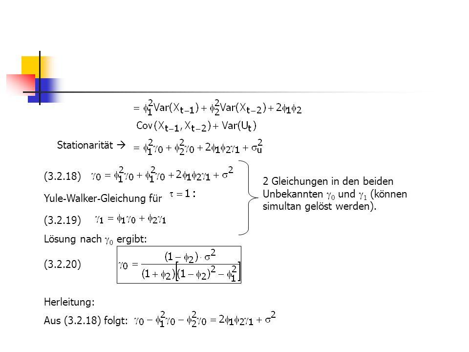 Stationarität  (3.2.18) Yule - Walker - Gleichung für (3.2.19) Lösung nach  0 ergibt: (3.2.20) Herleitung: Aus (3.2.18) folgt: 2 Gleichungen in den