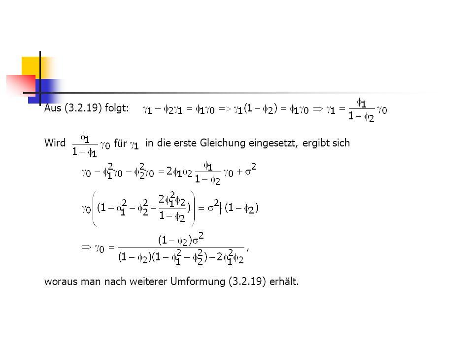 Aus (3.2.19) folgt: Wird in die erste Gleichung eingesetzt, ergibt sich woraus man nach weiterer Umformung (3.2.19) erhält.