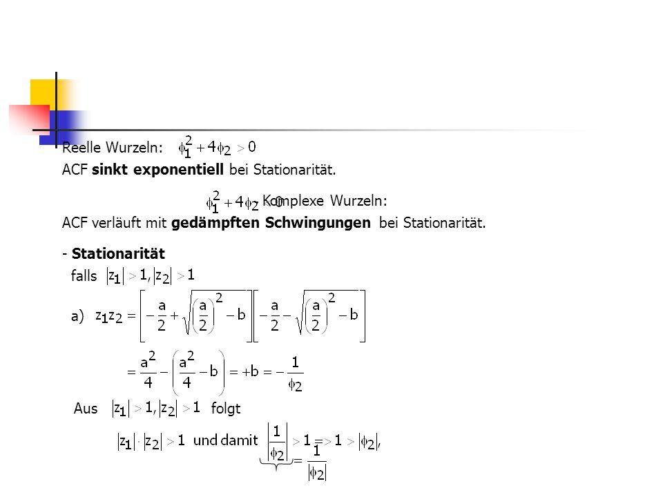 Reelle Wurzeln: ACF sinkt exponentiell bei Stationarität. - Komplexe Wurzeln: ACF verläuft mit gedämpften Schwingungen bei Stationarität. - Stationari
