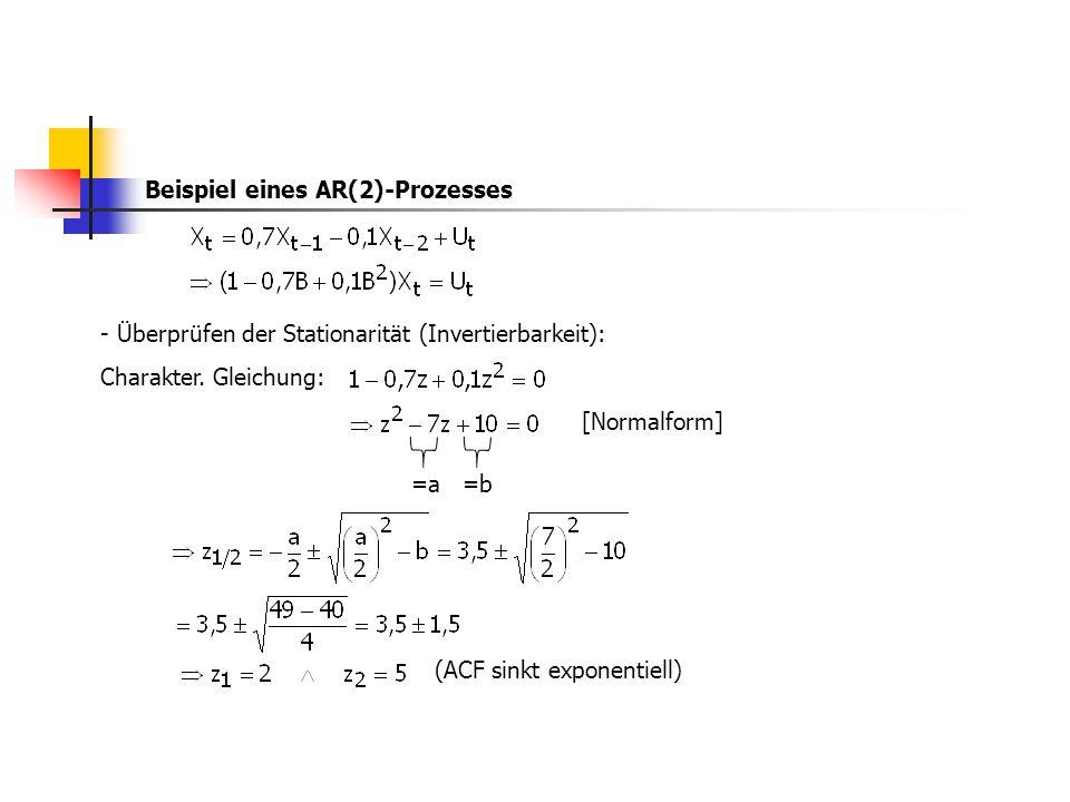 Beispiel eines AR(2)-Prozesses - Überprüfen der Stationarität (Invertierbarkeit): Charakter. Gleichung: (ACF sinkt exponentiell) =a =b [Normalform]