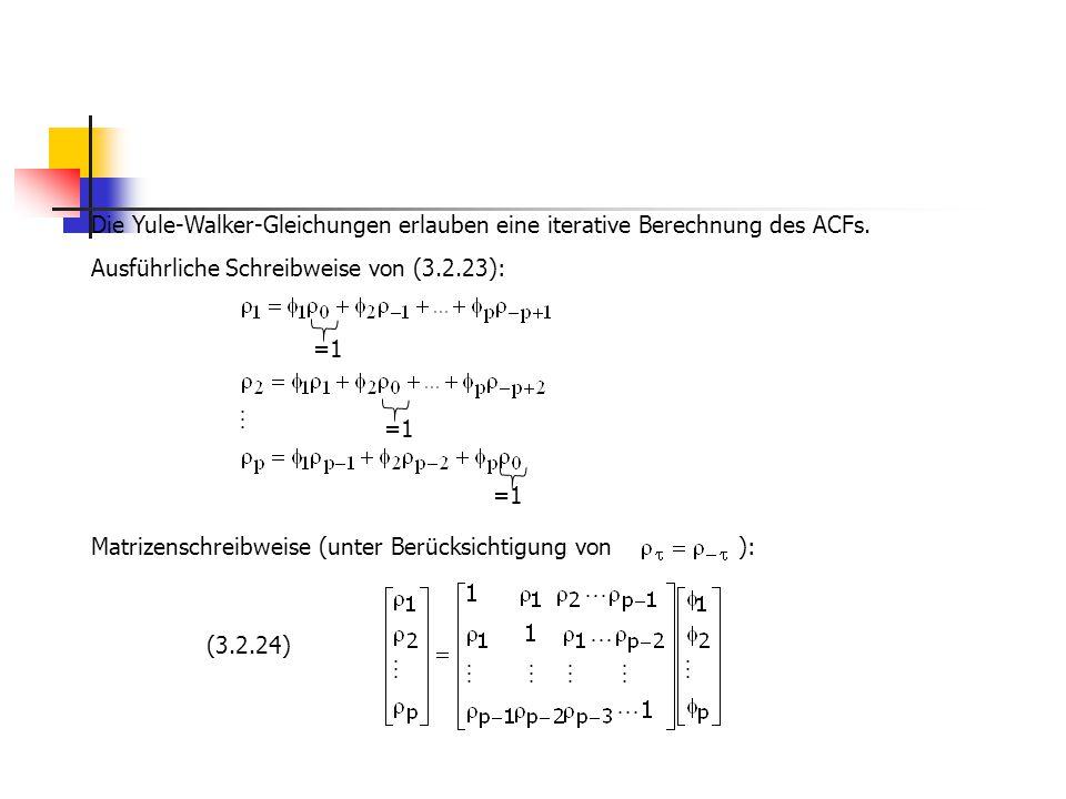 Die Yule-Walker-Gleichungen erlauben eine iterative Berechnung des ACFs. Ausführliche Schreibweise von (3.2.23): Matrizenschreibweise (unter Berücksic