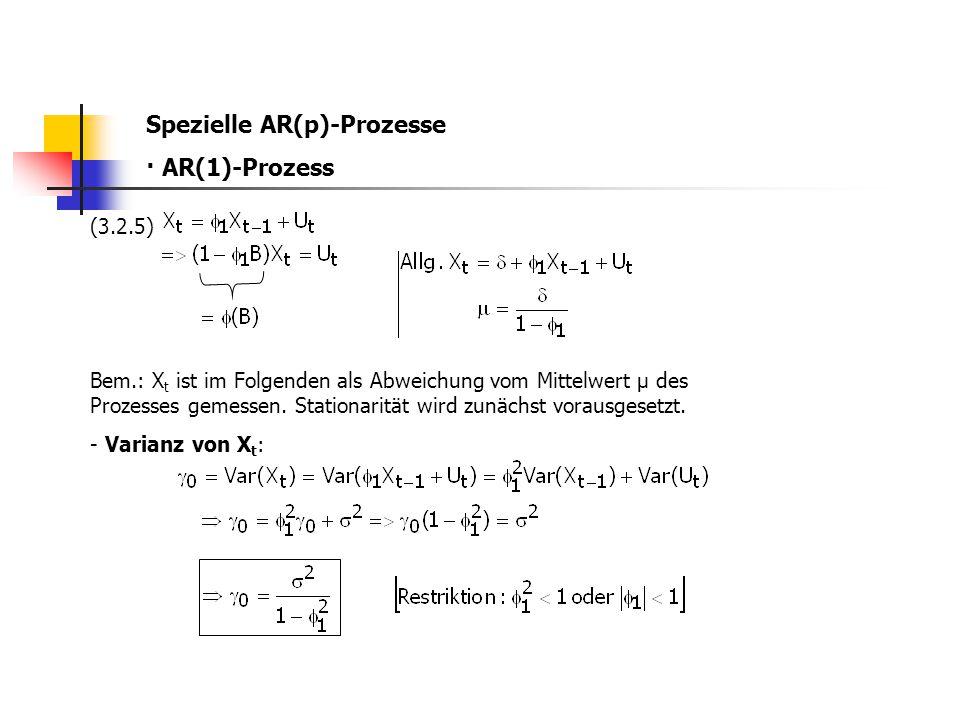 Spezielle AR(p)-Prozesse · AR(1)-Prozess (3.2.5) Bem.: X t ist im Folgenden als Abweichung vom Mittelwert µ des Prozesses gemessen. Stationarität wird