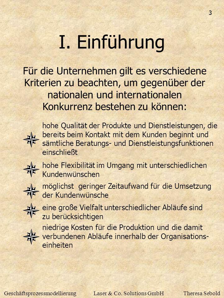 3 GeschäftsprozessmodellierungLaser & Co. Solutions GmbHTheresa Sebold I. Einführung Für die Unternehmen gilt es verschiedene Kriterien zu beachten, u