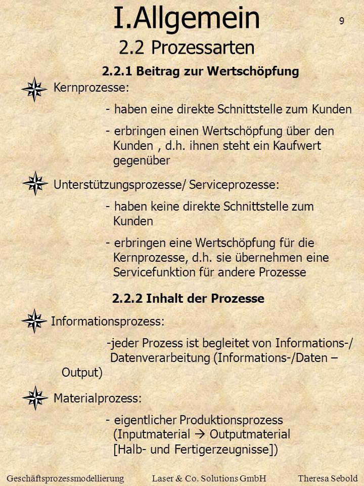 9 GeschäftsprozessmodellierungLaser & Co. Solutions GmbHTheresa Sebold I.Allgemein 2.2 Prozessarten 2.2.2 Inhalt der Prozesse Kernprozesse: - haben ei