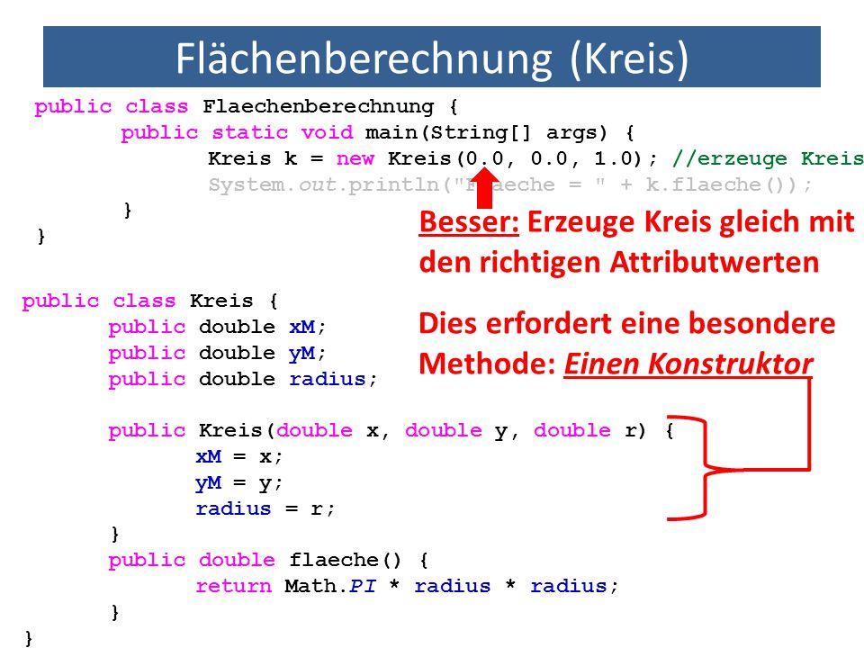 Flächenberechnung (Kreis) public class Flaechenberechnung { public static void main(String[] args) { Kreis k = new Kreis(0.0, 0.0, 1.0); //erzeuge Kre