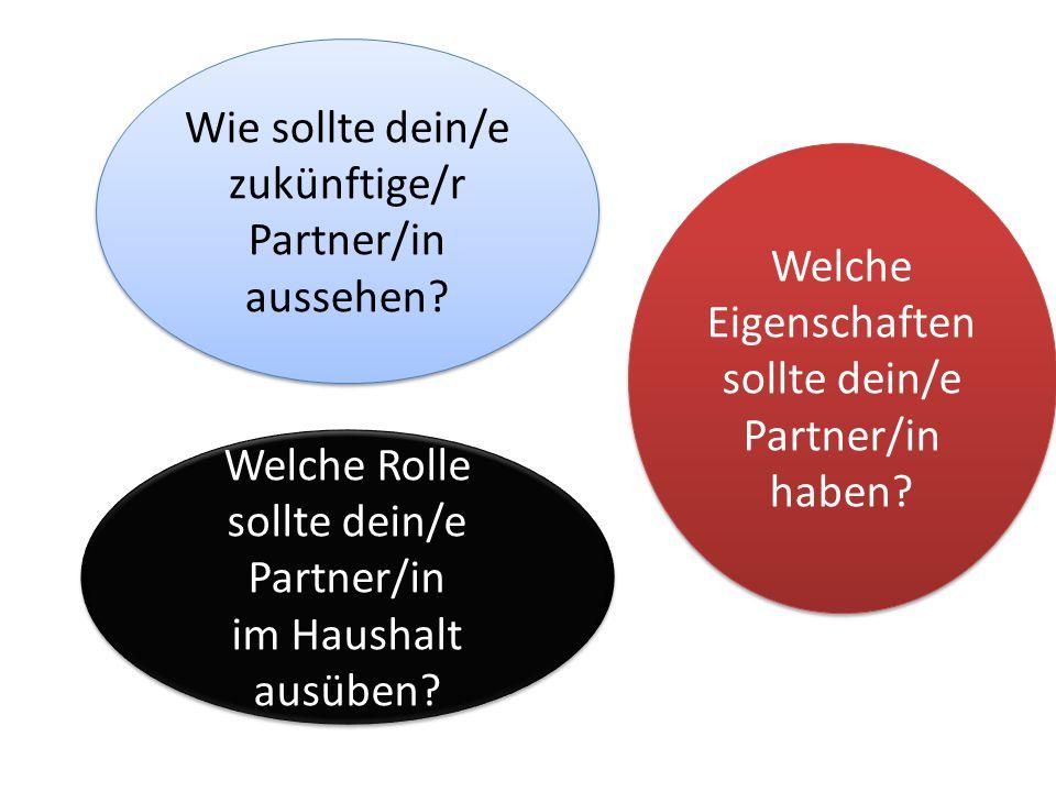 Wie sollte dein/e zukünftige/r Partner/in aussehen? Welche Rolle sollte dein/e Partner/in im Haushalt ausüben? Welche Rolle sollte dein/e Partner/in i