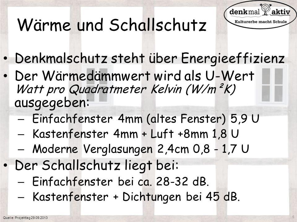 Wärme und Schallschutz Denkmalschutz steht über Energieeffizienz Der Wärmedämmwert wird als U-Wert Watt pro Quadratmeter Kelvin (W/m²K) ausgegeben: –