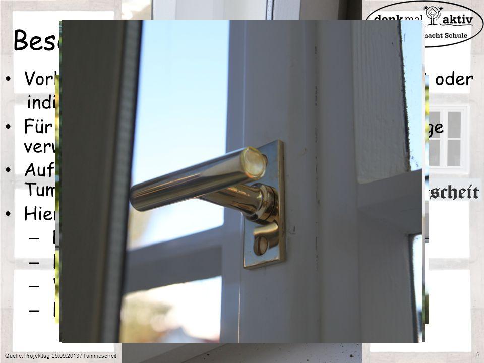 Beschläge am Kastenfester Vorhandene Beschläge werden wiederverwendet oder individuell angefertigt Für neue Fenster können auch moderne Beschläge verw
