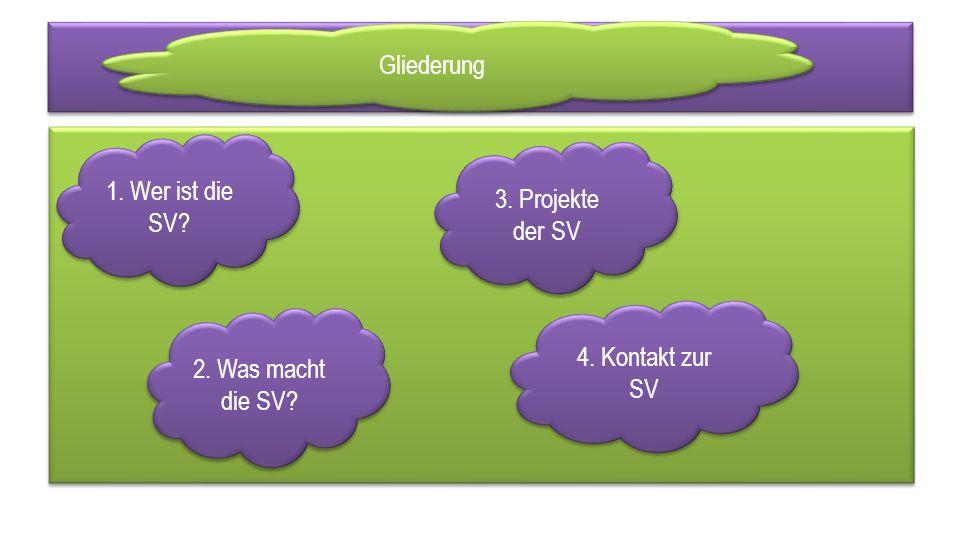 1. Wer ist die SV 2. Was macht die SV 3. Projekte der SV 4. Kontakt zur SV Gliederung
