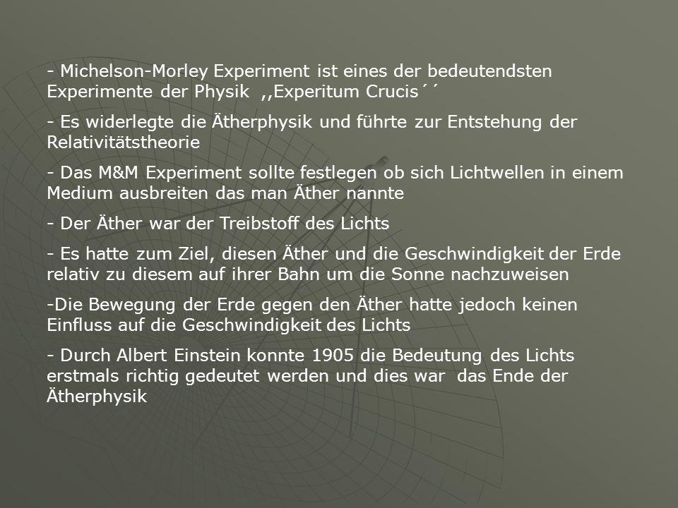 - Michelson-Morley Experiment ist eines der bedeutendsten Experimente der Physik,,Experitum Crucis´´ - Es widerlegte die Ätherphysik und führte zur En