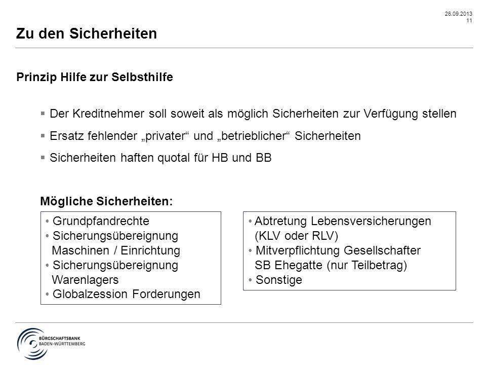"""26.09.2013 11 Prinzip Hilfe zur Selbsthilfe  Der Kreditnehmer soll soweit als möglich Sicherheiten zur Verfügung stellen  Ersatz fehlender """"privater"""