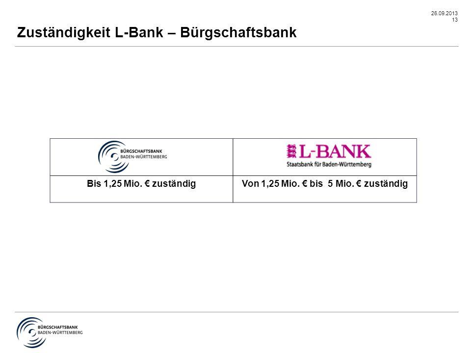 26.09.2013 13 Zuständigkeit L-Bank – Bürgschaftsbank Bis 1,25 Mio. € zuständigVon 1,25 Mio. € bis 5 Mio. € zuständig