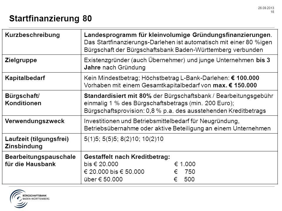 26.09.2013 16 Startfinanzierung 80 KurzbeschreibungLandesprogramm für kleinvolumige Gründungsfinanzierungen. Das Startfinanzierungs-Darlehen ist autom