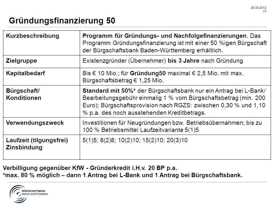 26.09.2013 17 Gründungsfinanzierung 50 KurzbeschreibungProgramm für Gründungs- und Nachfolgefinanzierungen. Das Programm Gründungsfinanzierung ist mit