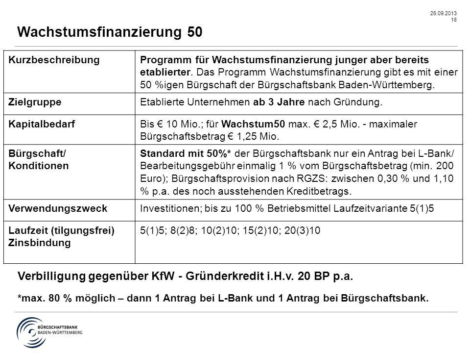 26.09.2013 18 Wachstumsfinanzierung 50 KurzbeschreibungProgramm für Wachstumsfinanzierung junger aber bereits etablierter. Das Programm Wachstumsfinan