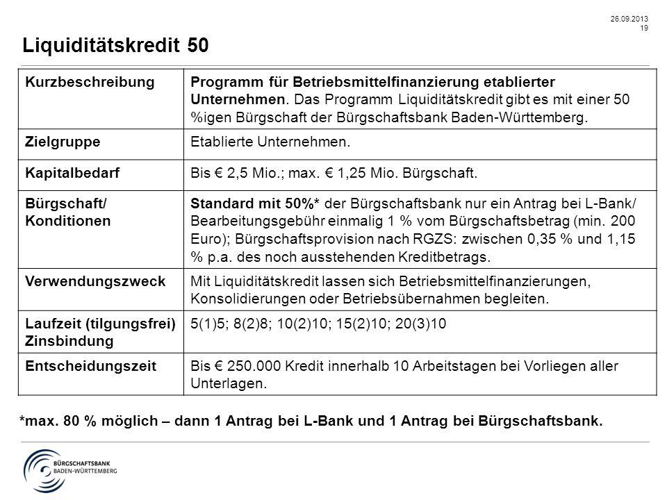 26.09.2013 19 Liquiditätskredit 50 KurzbeschreibungProgramm für Betriebsmittelfinanzierung etablierter Unternehmen. Das Programm Liquiditätskredit gib