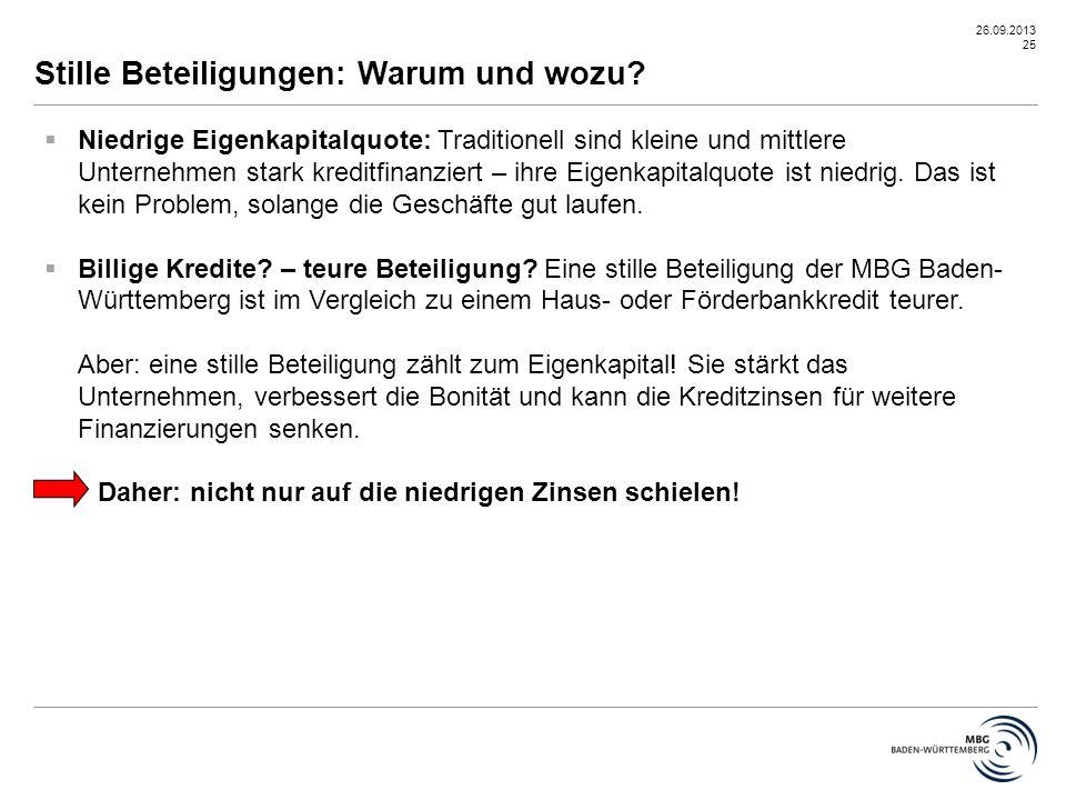 26.09.2013 25 Stille Beteiligungen: Warum und wozu?  Niedrige Eigenkapitalquote: Traditionell sind kleine und mittlere Unternehmen stark kreditfinanz