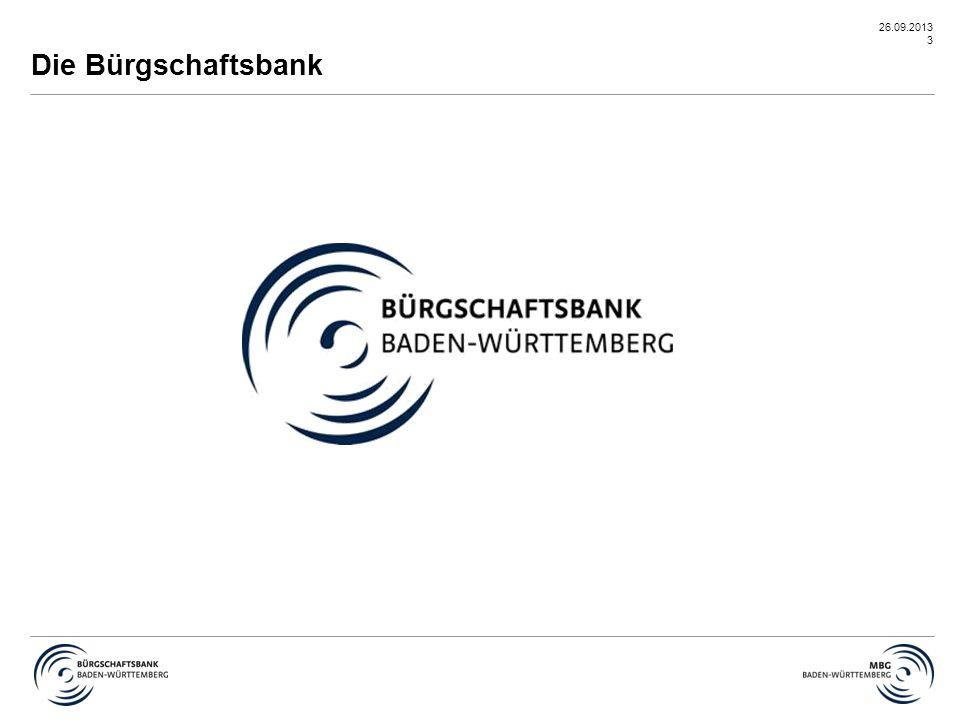 26.09.2013 14 Kooperation mit der L-Bank/Programme L-Bank FörderprogrammeBürgschaft in Höhe v.