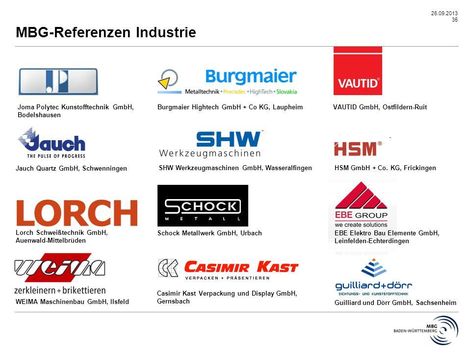 26.09.2013 35 MBG-Referenzen Industrie WEIMA Maschinenbau GmbH, Ilsfeld Joma Polytec Kunstofftechnik GmbH, Bodelshausen Jauch Quartz GmbH, Schwenninge