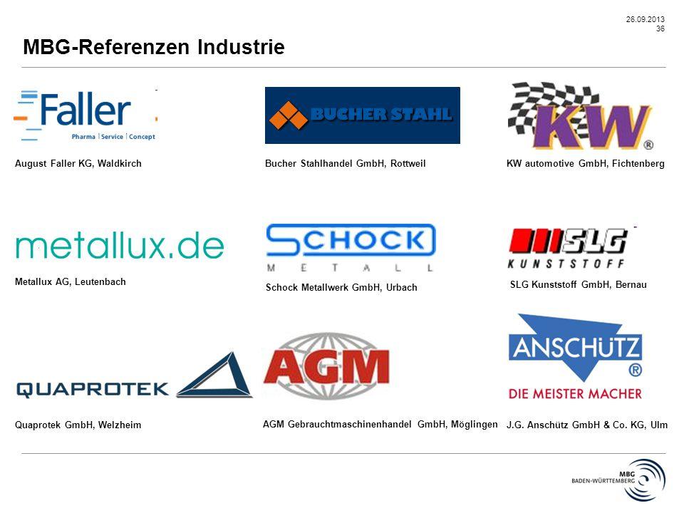 26.09.2013 36 August Faller KG, WaldkirchBucher Stahlhandel GmbH, Rottweil Metallux AG, Leutenbach KW automotive GmbH, Fichtenberg Quaprotek GmbH, Wel