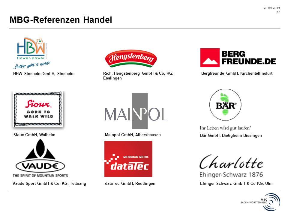 26.09.2013 37 Vaude Sport GmbH & Co. KG, Tettnang HBW Sinsheim GmbH, Sinsheim Rich. Hengstenberg GmbH & Co. KG, Esslingen Mainpol GmbH, Albershausen E