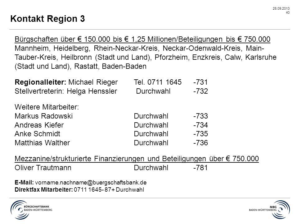 26.09.2013 40 Kontakt Region 3 Bürgschaften über € 150.000 bis € 1,25 Millionen/Beteiligungen bis € 750.000 Mannheim, Heidelberg, Rhein-Neckar-Kreis,