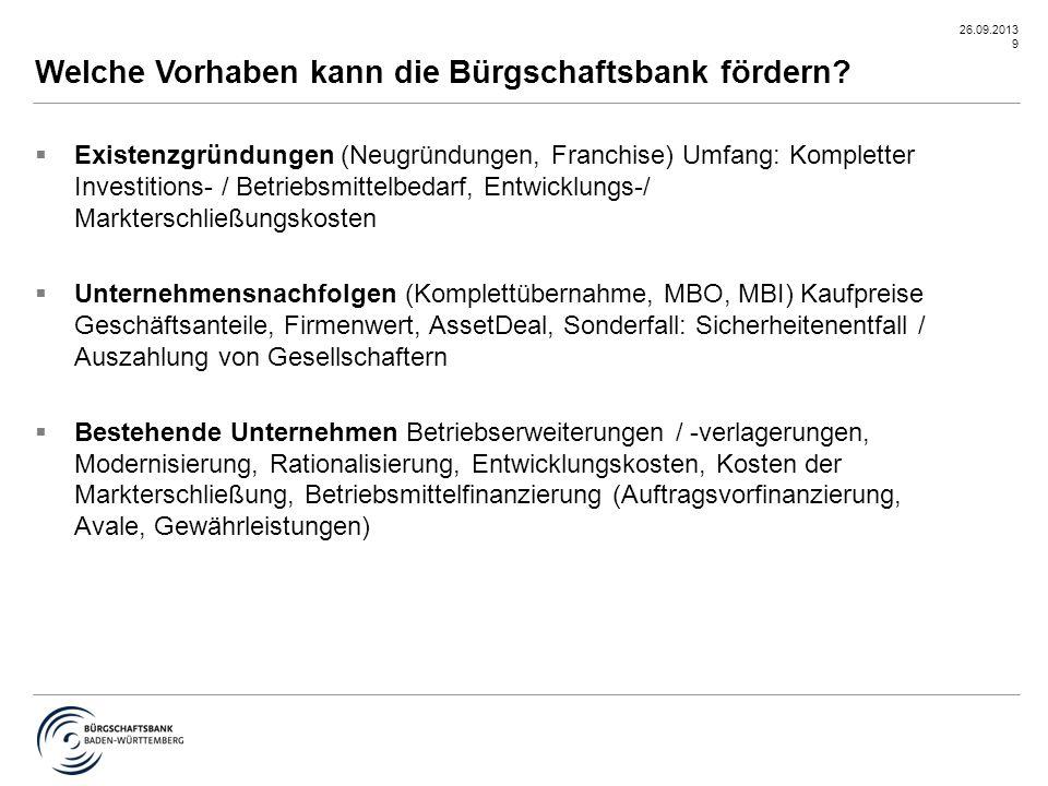 26.09.2013 20  1,0 % Bearbeitungsgebühr aus der genehmigten Bürgschaft/keine Kosten bei Ablehnungen  1,0 % Bürgschaftsprovision p.a.