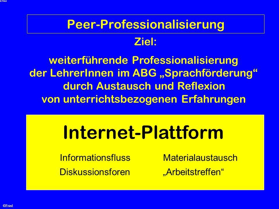 """©Fried Peer-Professionalisierung weiterführende Professionalisierung der LehrerInnen im ABG """"Sprachförderung"""" durch Austausch und Reflexion von unterr"""