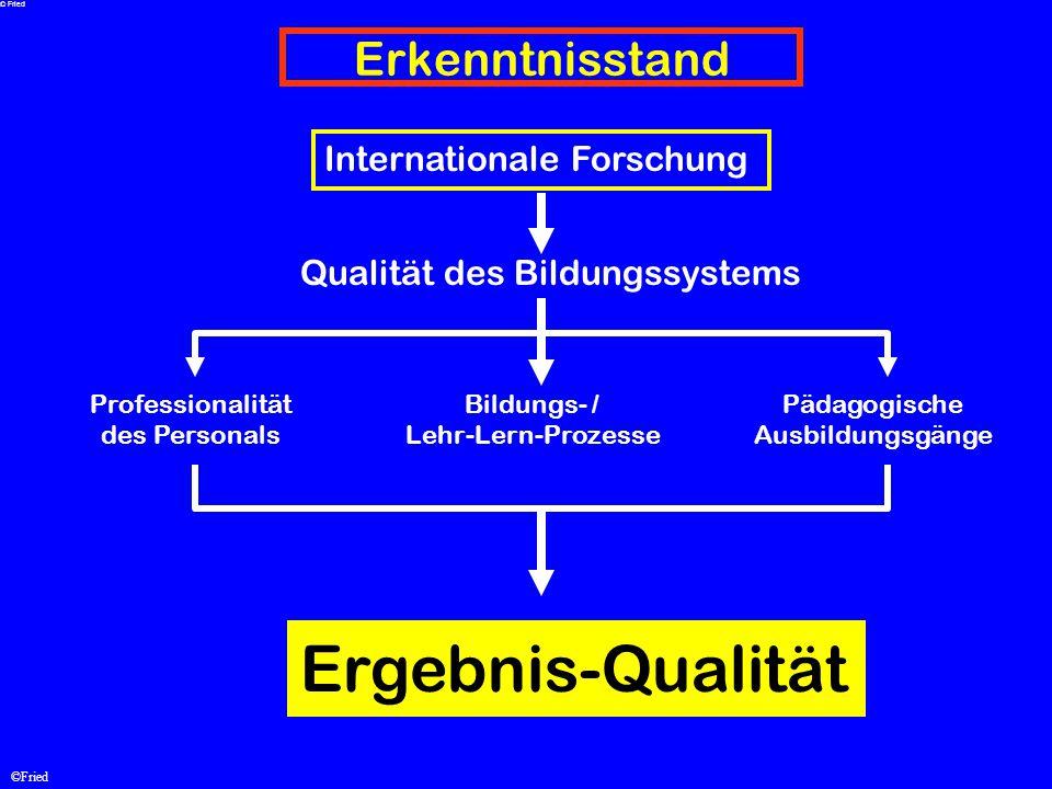 ©Fried Erkenntnisstand Qualität des Bildungssystems Professionalität des Personals Bildungs- / Lehr-Lern-Prozesse Pädagogische Ausbildungsgänge Ergebn