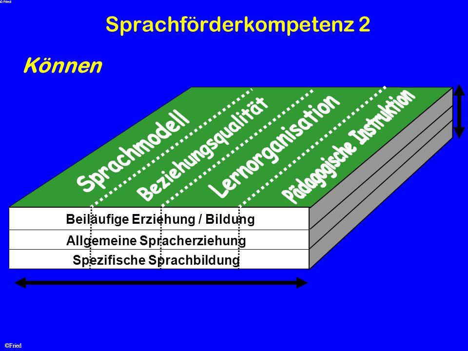©Fried Sprachförderkompetenz 2 Können Beiläufige Erziehung / Bildung Allgemeine Spracherziehung Spezifische Sprachbildung © Fried