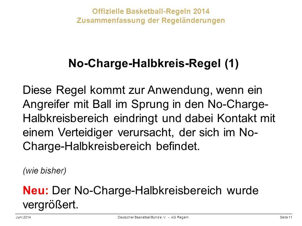 Seite 11Deutscher Basketball Bund e. V. - AG RegelnJuni 2014 Offizielle Basketball-Regeln 2014 Zusammenfassung der Regeländerungen No-Charge-Halbkreis