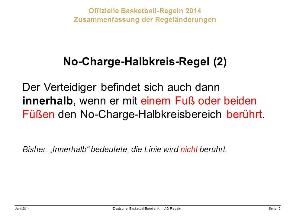 Seite 12Deutscher Basketball Bund e. V. - AG RegelnJuni 2014 Offizielle Basketball-Regeln 2014 Zusammenfassung der Regeländerungen No-Charge-Halbkreis