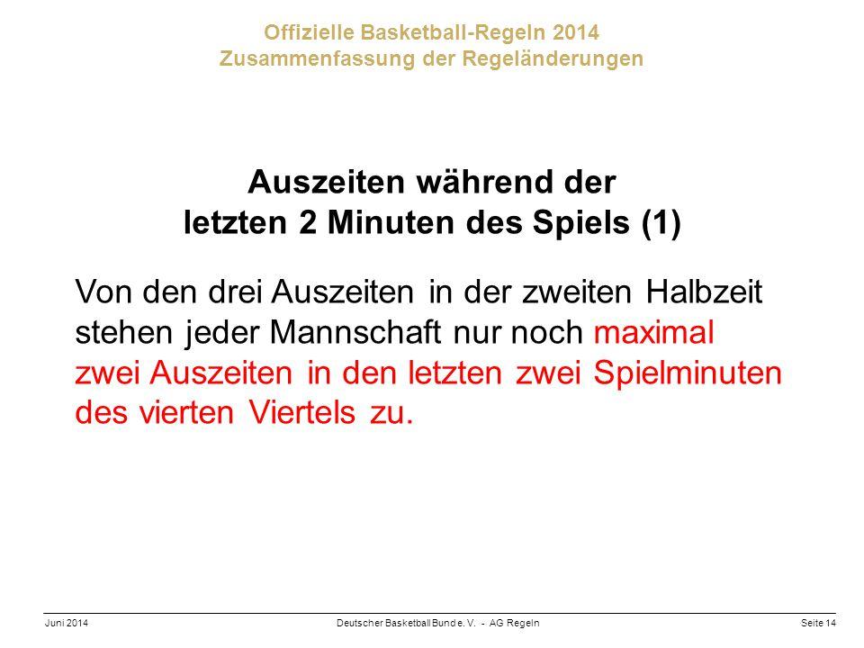 Seite 14Deutscher Basketball Bund e. V. - AG RegelnJuni 2014 Offizielle Basketball-Regeln 2014 Zusammenfassung der Regeländerungen Auszeiten während d
