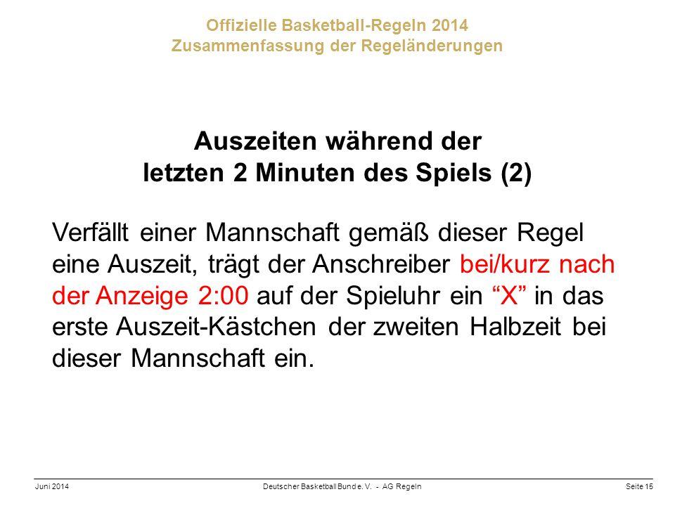 Seite 15Deutscher Basketball Bund e. V. - AG RegelnJuni 2014 Offizielle Basketball-Regeln 2014 Zusammenfassung der Regeländerungen Auszeiten während d