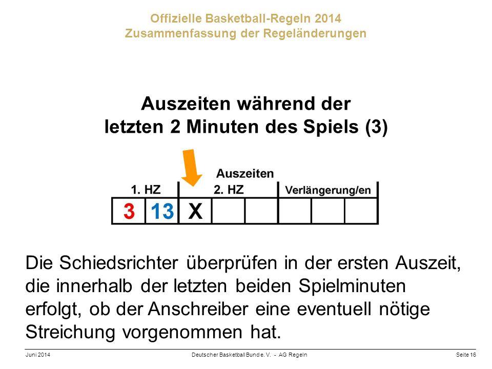 Seite 16Deutscher Basketball Bund e. V. - AG RegelnJuni 2014 Offizielle Basketball-Regeln 2014 Zusammenfassung der Regeländerungen Auszeiten während d