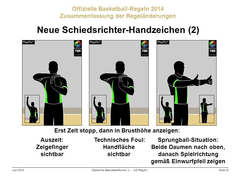 Seite 18Deutscher Basketball Bund e. V. - AG RegelnJuni 2014 Offizielle Basketball-Regeln 2014 Zusammenfassung der Regeländerungen Neue Schiedsrichter
