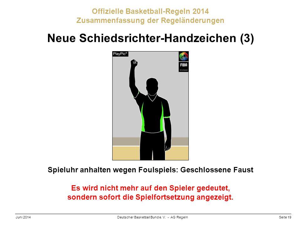 Seite 19Deutscher Basketball Bund e. V. - AG RegelnJuni 2014 Offizielle Basketball-Regeln 2014 Zusammenfassung der Regeländerungen Neue Schiedsrichter