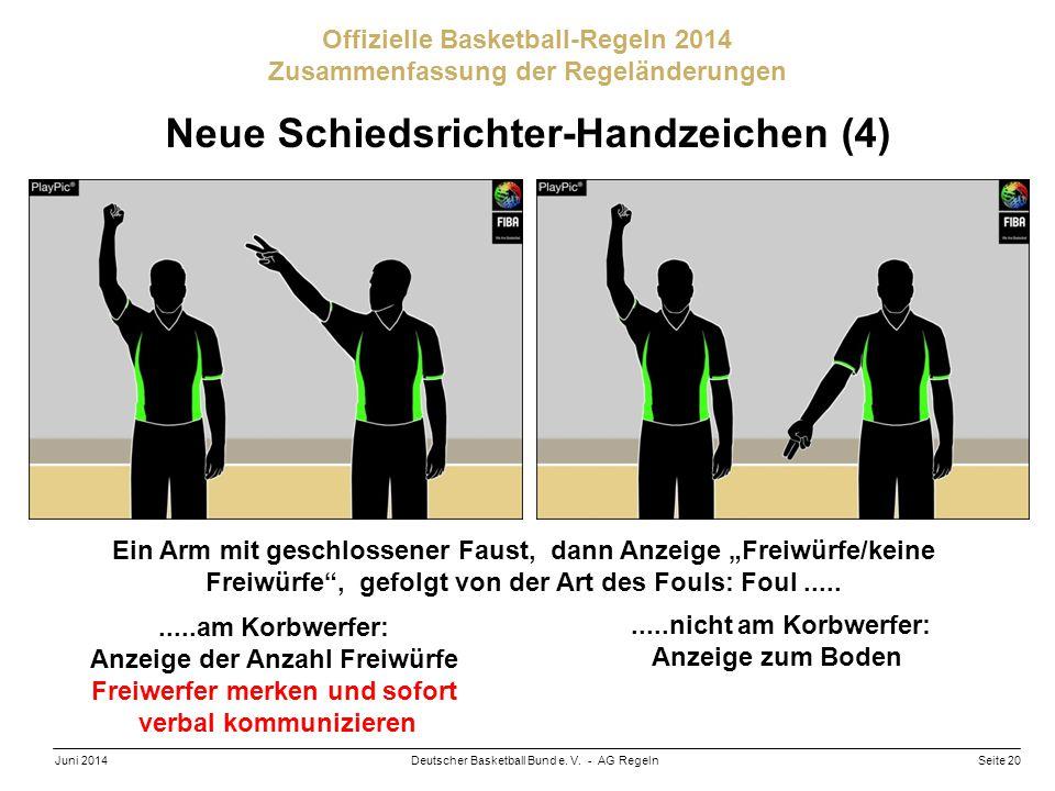 Seite 20Deutscher Basketball Bund e. V. - AG RegelnJuni 2014 Offizielle Basketball-Regeln 2014 Zusammenfassung der Regeländerungen Neue Schiedsrichter