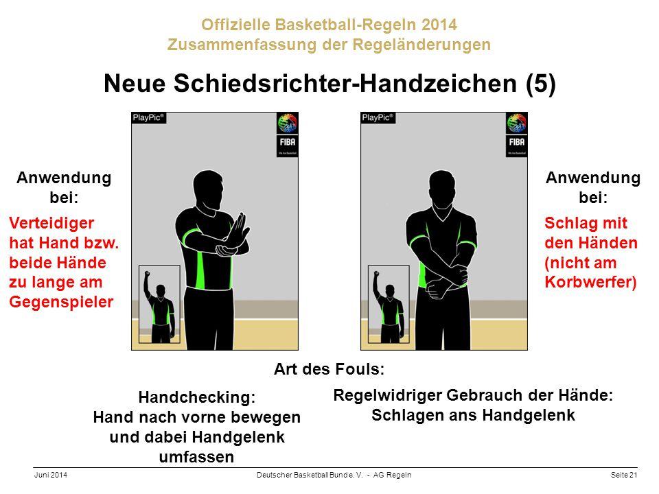 Seite 21Deutscher Basketball Bund e. V. - AG RegelnJuni 2014 Offizielle Basketball-Regeln 2014 Zusammenfassung der Regeländerungen Neue Schiedsrichter