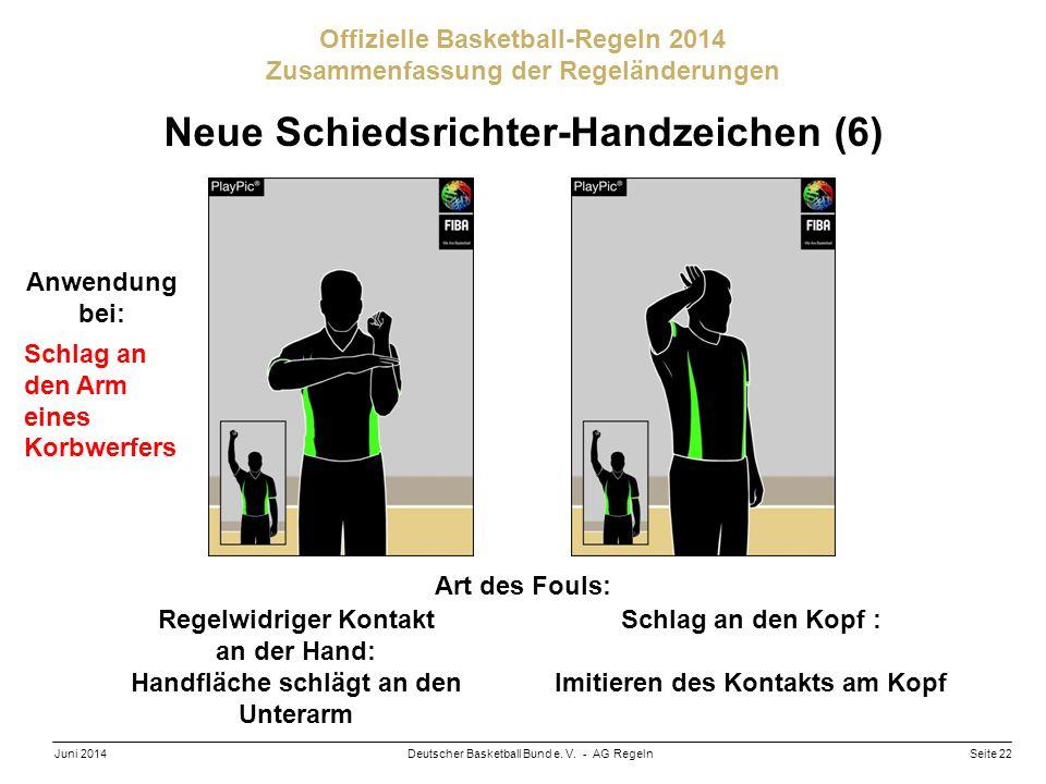 Seite 22Deutscher Basketball Bund e. V. - AG RegelnJuni 2014 Offizielle Basketball-Regeln 2014 Zusammenfassung der Regeländerungen Neue Schiedsrichter