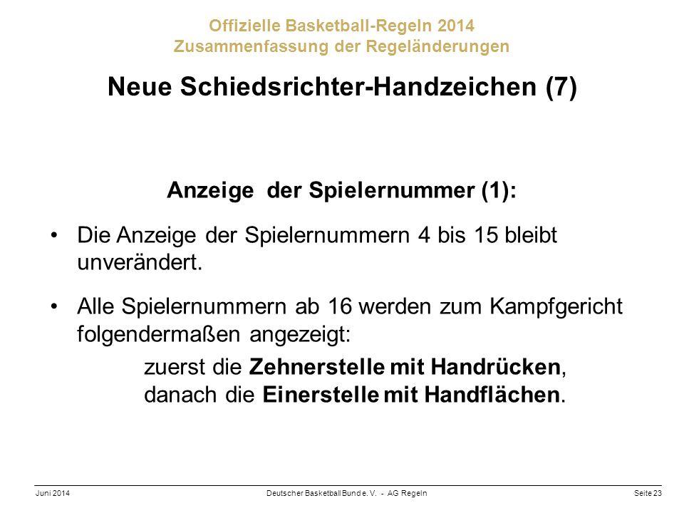 Seite 23Deutscher Basketball Bund e. V. - AG RegelnJuni 2014 Offizielle Basketball-Regeln 2014 Zusammenfassung der Regeländerungen Neue Schiedsrichter