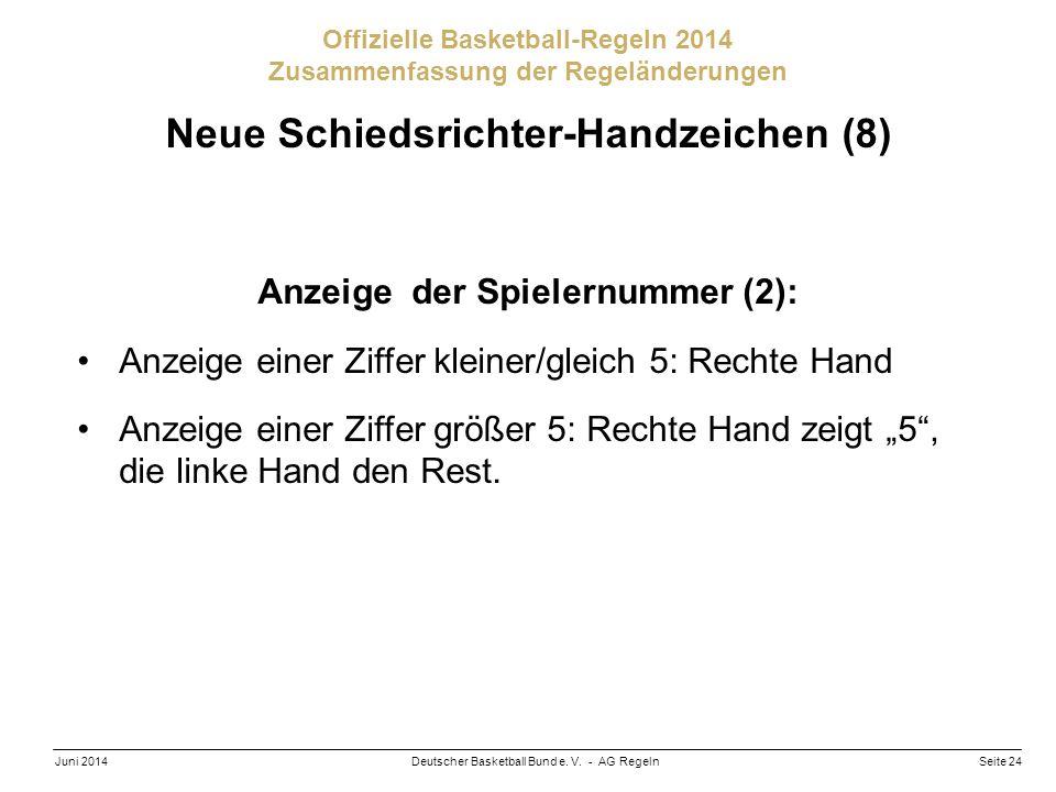 Seite 24Deutscher Basketball Bund e. V. - AG RegelnJuni 2014 Offizielle Basketball-Regeln 2014 Zusammenfassung der Regeländerungen Neue Schiedsrichter