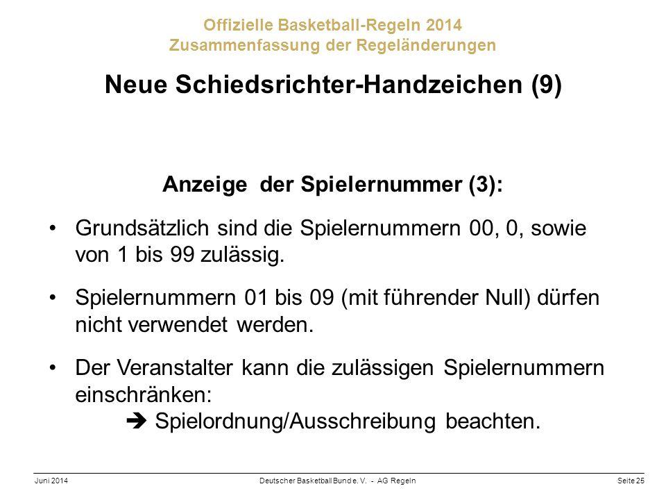 Seite 25Deutscher Basketball Bund e. V. - AG RegelnJuni 2014 Offizielle Basketball-Regeln 2014 Zusammenfassung der Regeländerungen Neue Schiedsrichter