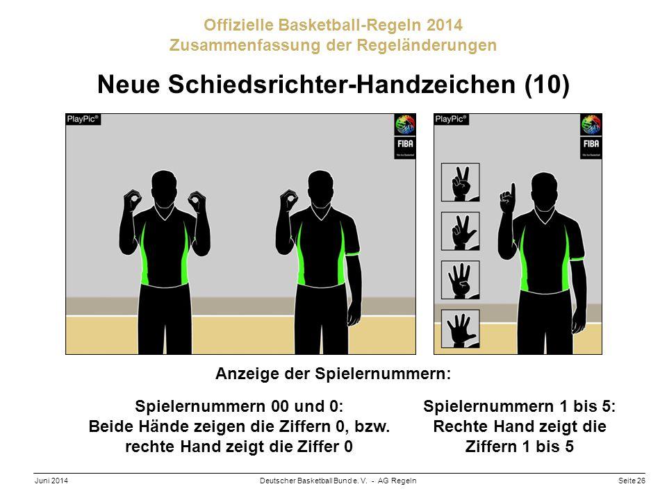 Seite 26Deutscher Basketball Bund e. V. - AG RegelnJuni 2014 Offizielle Basketball-Regeln 2014 Zusammenfassung der Regeländerungen Neue Schiedsrichter