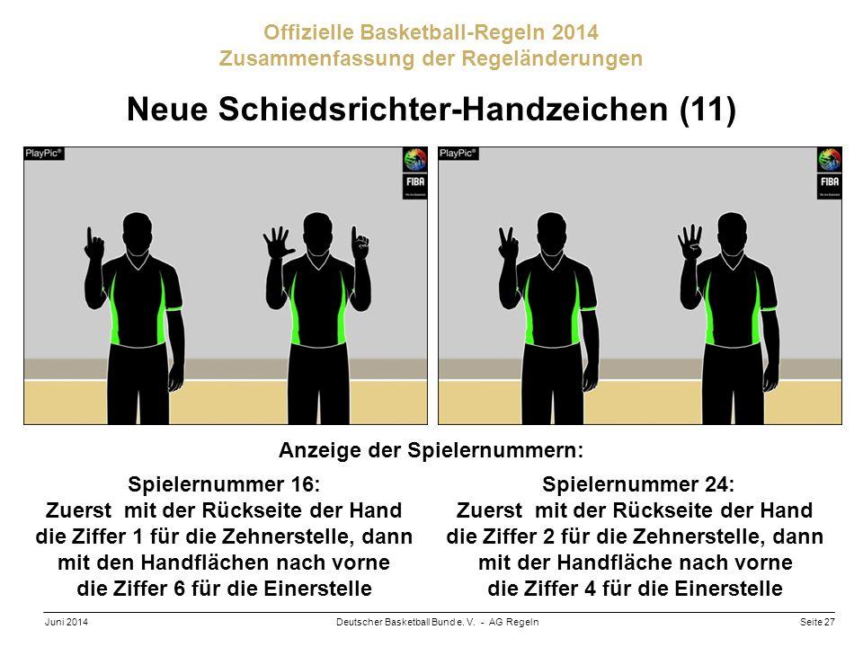 Seite 27Deutscher Basketball Bund e. V. - AG RegelnJuni 2014 Offizielle Basketball-Regeln 2014 Zusammenfassung der Regeländerungen Neue Schiedsrichter