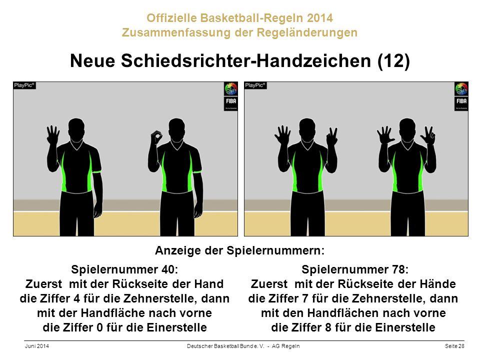 Seite 28Deutscher Basketball Bund e. V. - AG RegelnJuni 2014 Offizielle Basketball-Regeln 2014 Zusammenfassung der Regeländerungen Neue Schiedsrichter